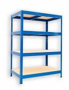 Metallregal mit Holzböden 50 x 75 x 90 cm - 4 Fachböden x 175kg, blau