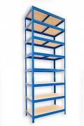 Metallregal mit Holzböden 50 x 75 x 270 cm - 8 Fachböden x 175kg, blau