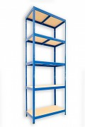 Metallregal mit Holzböden 60 x 75 x 210 cm - 5 Fachböden x 175kg, blau