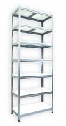 Metallregal mit Weißböden 45 x 75 x 270 cm - 7 Fachböden x 175 kg, verzinkt