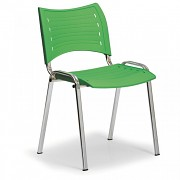 Konferenzstuhl - Kunstoff, grün Biedrax Z9130Z, Fußgestell verchromt