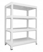 Metallregal mit Weißböden 35 x 60 x 90 cm - 4 Fachböden x 175 kg, weiß