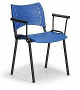 Konferenzstuhl - Kunstoff, blau Biedrax Z9123M, Fußgestell schwarz