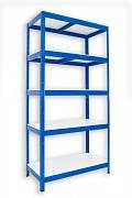 Metallregal mit Weißböden 35 x 60 x 180 cm - 5 Fachböden x 175 kg, blau