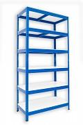 Metallregal mit Weißböden 35 x 60 x 180 cm - 6 Fachböden x 175 kg, blau