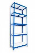 Metallregal mit Weißböden 35 x 60 x 210 cm - 5 Fachböden x 175 kg, blau