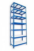 Metallregal mit Weißböden 35 x 120 x 210 cm - 7 Fachböden x 175 kg, blau