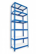 Metallregal mit Weißböden 50 x 75 x 210 cm - 6 Fachböden x 175 kg, blau