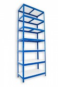 Metallregal mit Weißböden 50 x 75 x 210 cm - 7 Fachböden x 175 kg, blau