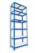 Metallregal mit Weißböden 50 x 75 x 240 cm - 6 Fachböden x 175 kg, blau