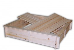 Sandkasten mit Sitzbänken und Deckel BIEDRAX 140 x 140 x 30 cm