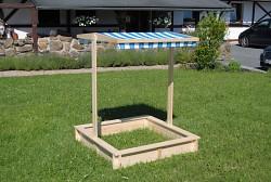 Sandkasten mit Sitzbänken und Dach l BIEDRAX 115 x 115 x 140 cm